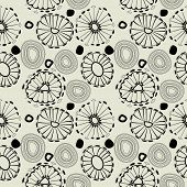 art black graphic geometric seamless pattern, square background with naive circle shapes ornament