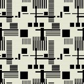 art black graphic geometric seamless pattern, background with squares and stripes naive Suprematism ornament