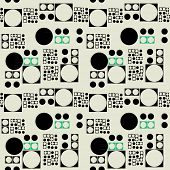 art black graphic geometric seamless pattern, square background with naive Suprematism circles ornament