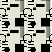 art black graphic geometric seamless pattern, background with squares, circles and stripes naive Suprematism ornament