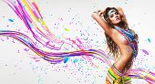 Sexy Belly Dancer In Colourful Nacklace With Abstract Lines