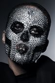 Creative Bizarre Woman With Silver Rhinestones
