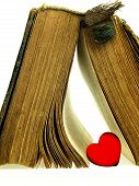 Heart And Old Closed The Book With A Damaged Cover.