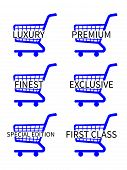 Blue Shopping Cart Icons With Luxury Articles Texts