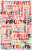 Fruits text with strawberries