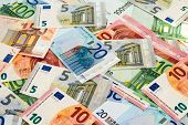 Heap Of Different Euro Banknotes