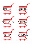 Red Shopping Cart Icons With Vintage Texts