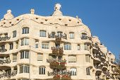 BARCELONA, SPAIN - DEC 24, 2014: Casa Mila (La Pedrera) - apartment house, built in the years 1906-1910 architect Antoni Gaudi for the Mila family, one of the attractions of the Catalan capital.