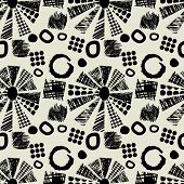 art black graphic geometric seamless pattern, square background with naive circle aster floral ornament