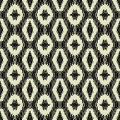 art black graphic geometric seamless pattern, square background with naive east ornament