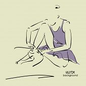 art sketch of sitting on floor and tying up pointe shoes beautiful young ballerina in dress