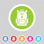 Backpack, schoobag, rucksack flat icon