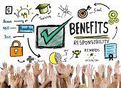 Benefits Gain Profit Earning Income Hands Volunteer Concept