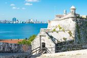The fortress of El Morro in Havana with a view of the city skyline