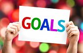 Goals card with colorful background with defocused lights