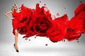 Blond Woman In Beautiful Blown Rose Dress