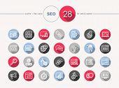 Seo Web Flat Icons Outline Style Set