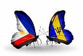 Two Butterflies With Flags On Wings As Symbol Of Relations Philippines And Barbados