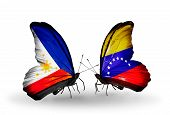 Two Butterflies With Flags On Wings As Symbol Of Relations Philippines And Venezuela
