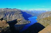 Trolltunga Troll's tongue rock above lake Ringedalsvatnet Norway