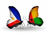 Two Butterflies With Flags On Wings As Symbol Of Relations Philippines And Guinea Bissau