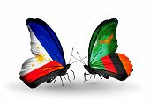 Two Butterflies With Flags On Wings As Symbol Of Relations Philippines And Zambia