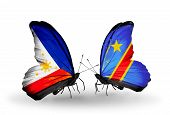 Two Butterflies With Flags On Wings As Symbol Of Relations Philippines And Kongo