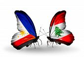 Two Butterflies With Flags On Wings As Symbol Of Relations Philippines And Lebanon