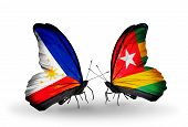 Two Butterflies With Flags On Wings As Symbol Of Relations Philippines And Togo