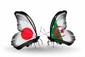 Two Butterflies With Flags On Wings As Symbol Of Relations Japan And  Algeria