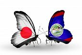 Two Butterflies With Flags On Wings As Symbol Of Relations Japan And Belize