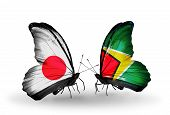 Two Butterflies With Flags On Wings As Symbol Of Relations Japan And Guyana