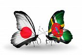 Two Butterflies With Flags On Wings As Symbol Of Relations Japan And Dominica