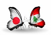 Two Butterflies With Flags On Wings As Symbol Of Relations Japan And Lebanon