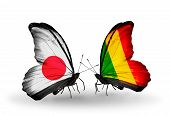 Two Butterflies With Flags On Wings As Symbol Of Relations Japan And Mali