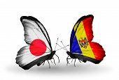 Two Butterflies With Flags On Wings As Symbol Of Relations Japan And Moldova