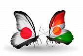 Two Butterflies With Flags On Wings As Symbol Of Relations Japan And Niger