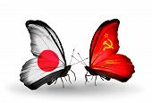 Two Butterflies With Flags On Wings As Symbol Of Relations Japan And Soviet Union