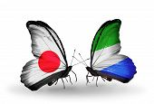 Two Butterflies With Flags On Wings As Symbol Of Relations Japan And Sierra Leone