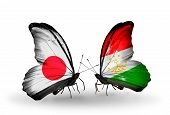 Two Butterflies With Flags On Wings As Symbol Of Relations Japan And Tajikistan