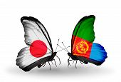 Two Butterflies With Flags On Wings As Symbol Of Relations Japan And Eritrea