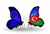 Two Butterflies With Flags On Wings As Symbol Of Relations Eu And Azerbaijan