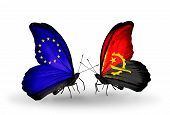 Two Butterflies With Flags On Wings As Symbol Of Relations Eu And Angola