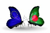 Two Butterflies With Flags On Wings As Symbol Of Relations Eu And Bangladesh