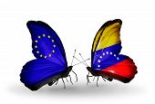 Two Butterflies With Flags On Wings As Symbol Of Relations Eu And Venezuela