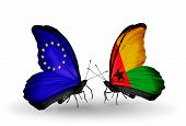 Two Butterflies With Flags On Wings As Symbol Of Relations Eu And Guinea Bissau