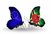 Two Butterflies With Flags On Wings As Symbol Of Relations Eu And Dominica