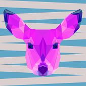 Bright Colored Abstract Geometric Polygonal Deer