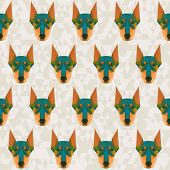 Bright Colored Abstract Doberman Polygonal Seamless Pattern Background