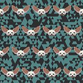 Polygonal Geometric Triangle Abstract Fennec Fox Seamless Pattern